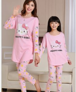 Cute Mother and Daughter Kitty Pajamas 6