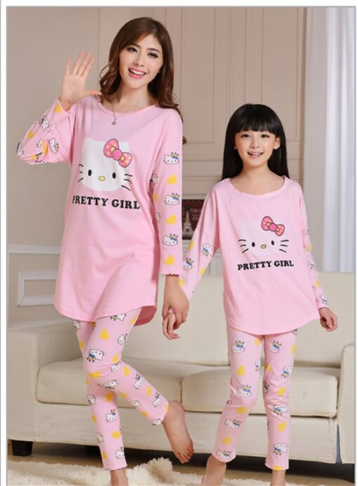Cute Mother and Daughter Kitty Pajamas 2