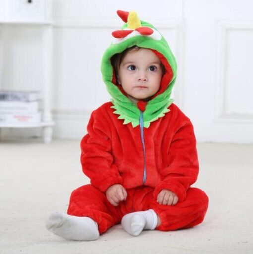 Animal Theme Red Chicken Onesie Pajamas for Toddlers 1