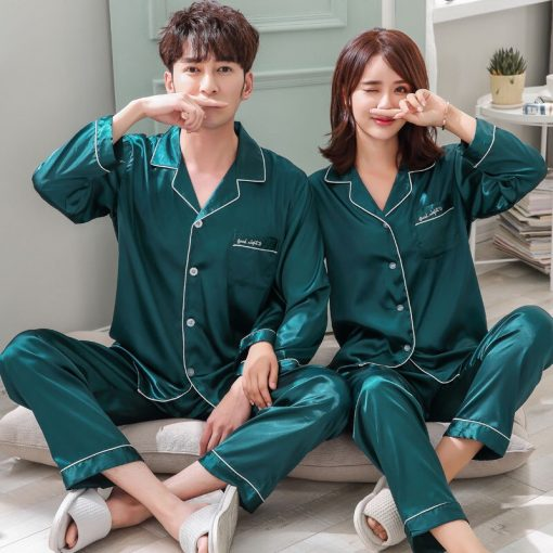 Solid Matching Pajamas For couple 6