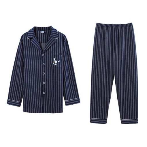 Autumn Season Striped Couple Pajamas Set 4