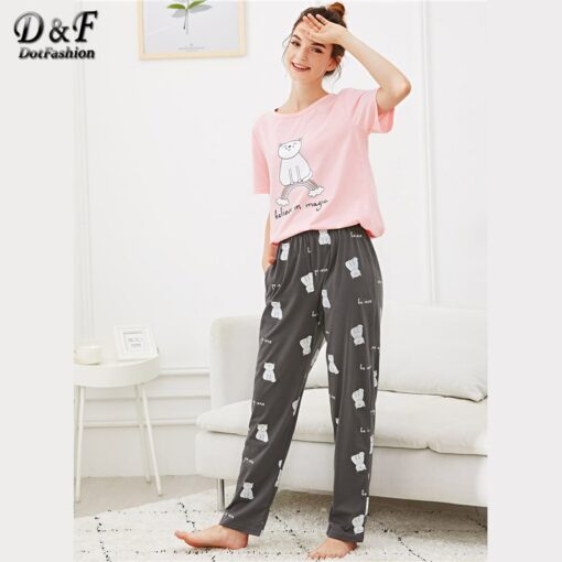 Cute Animal Print Women Pajamas 1