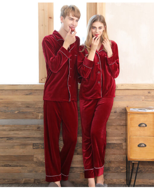 Warm Polyester Couple Matching Pajamas Set 1