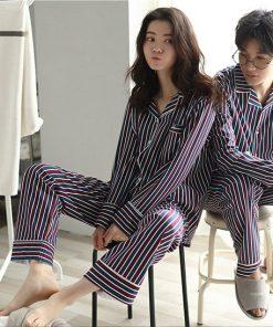 Autumn Striped Season Couple Pajamas 11