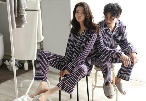 Autumn Striped Season Couple Pajamas 3