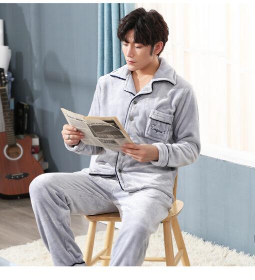 Autumn Spring Soft Cotton Pajamas for Men 5