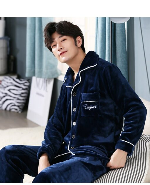 Autumn Spring Soft Cotton Pajamas for Men 1