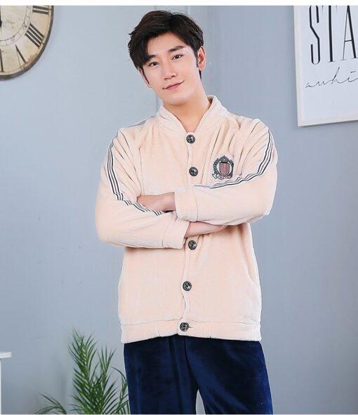 Autumn Spring Soft Cotton Pajamas for Men 2