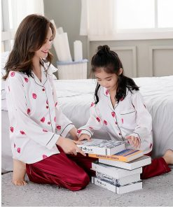 Beautiful Solid Color Mother and Daughter Matching  Pajamas 6