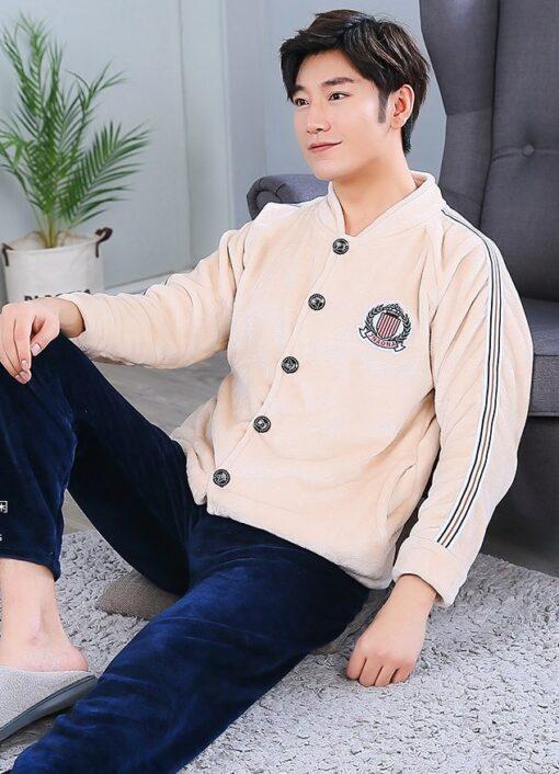 Autumn Spring Soft Cotton Pajamas for Men 1