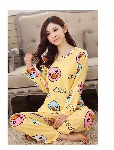 Women Adorable Cartoon Print Pajamas 1