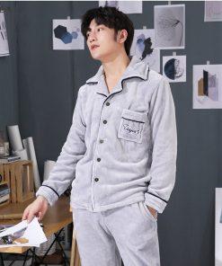 Autumn Spring Soft Cotton Pajamas for Men 8