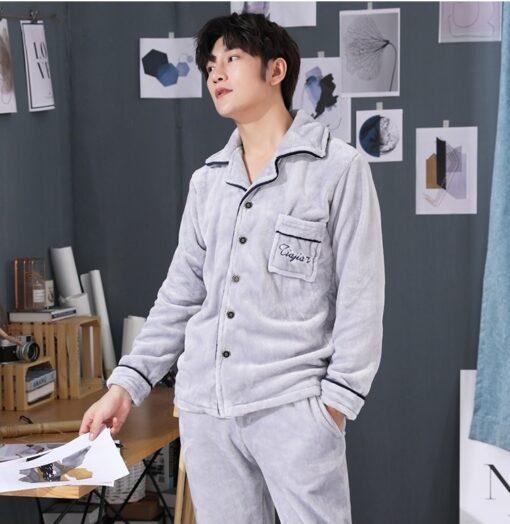 Autumn Spring Soft Cotton Pajamas for Men 4