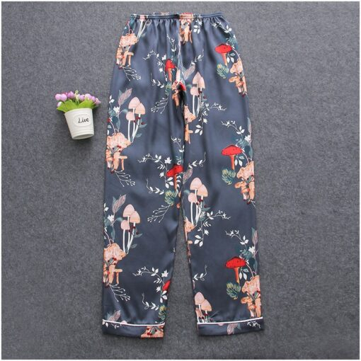 Elegant Floral Silk Pajamas For Women 3