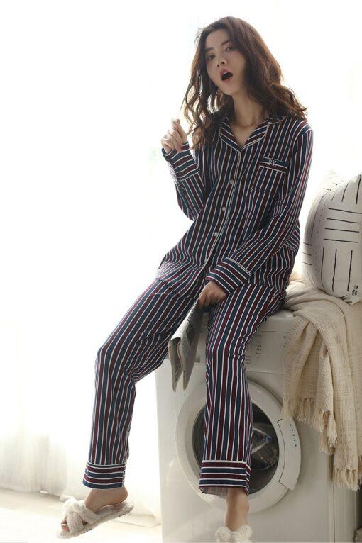 Autumn Striped Season Couple Pajamas 5