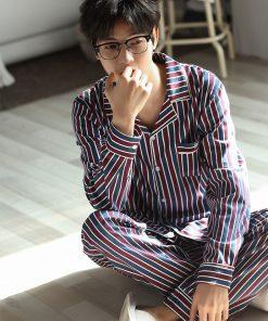 Autumn Striped Season Couple Pajamas 16