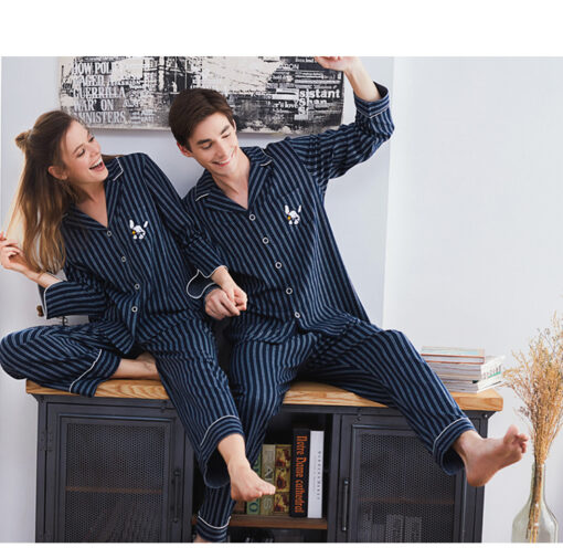 Autumn Season Striped Couple Pajamas Set 1