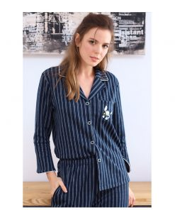 Autumn Season Striped Couple Pajamas Set 7