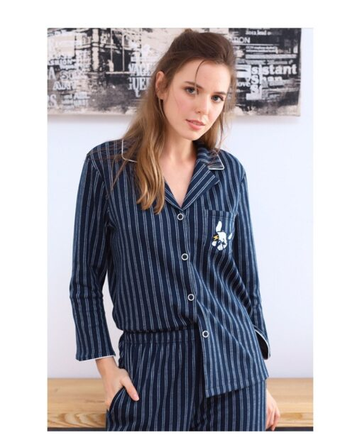 Autumn Season Striped Couple Pajamas Set 3