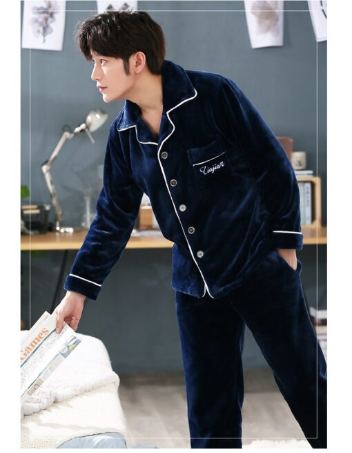 Autumn Spring Soft Cotton Pajamas for Men 5