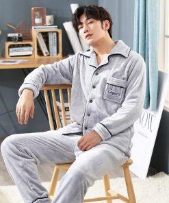 Autumn Spring Soft Cotton Pajamas for Men 7