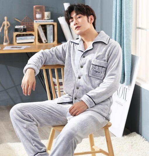 Autumn Spring Soft Cotton Pajamas for Men 3
