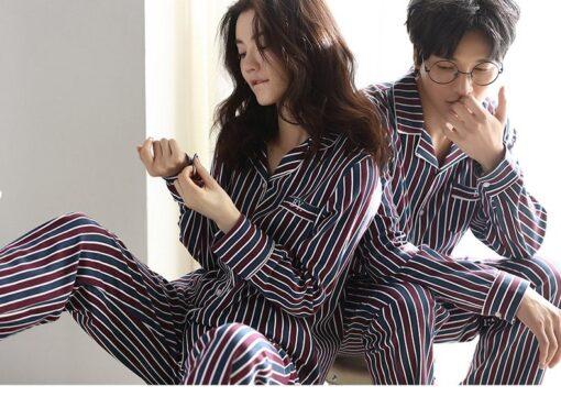 Autumn Striped Season Couple Pajamas 1