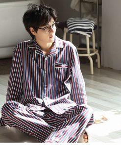 Autumn Striped Season Couple Pajamas 17
