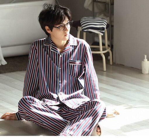 Autumn Striped Season Couple Pajamas 9