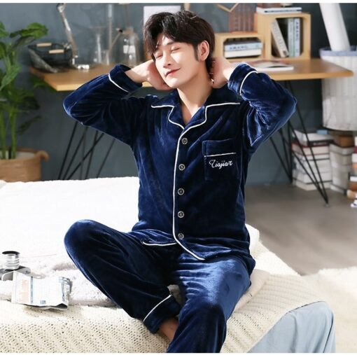 Autumn Spring Soft Cotton Pajamas for Men 2