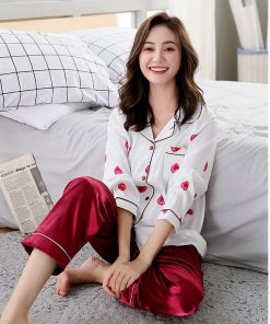Beautiful Solid Color Mother and Daughter Matching  Pajamas 5