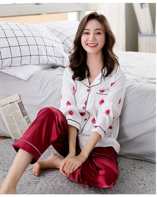 Beautiful Solid Color Mother and Daughter Matching Pajamas 2