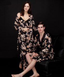 couple in night pajamas