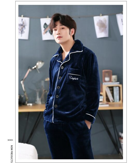 Autumn Spring Soft Cotton Pajamas for Men 3