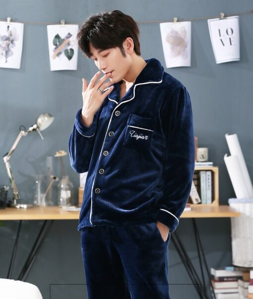 Autumn Spring Soft Cotton Pajamas for Men 4