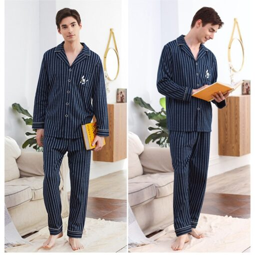 Autumn Season Striped Couple Pajamas Set 2