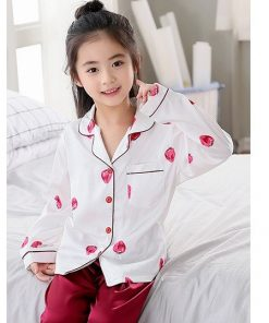 Beautiful Solid Color Mother and Daughter Matching  Pajamas 7