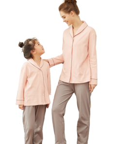 Cozy Solid Mother and Daughter Matching Pajamas 4
