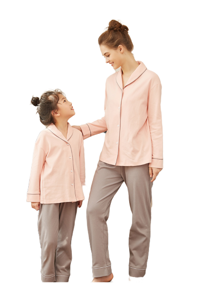 Cozy Solid Mother and Daughter Matching Pajamas 2