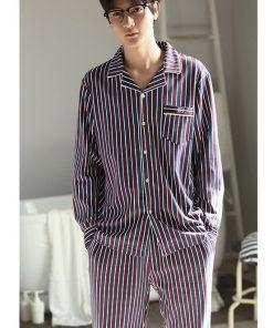Autumn Striped Season Couple Pajamas 15
