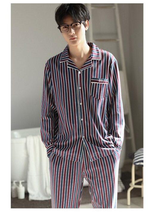 Autumn Striped Season Couple Pajamas 7