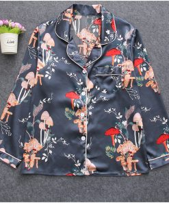 Elegant Floral Silk Pajamas For Women 9