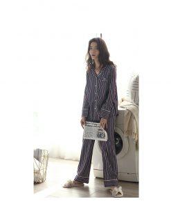 Autumn Striped Season Couple Pajamas 14