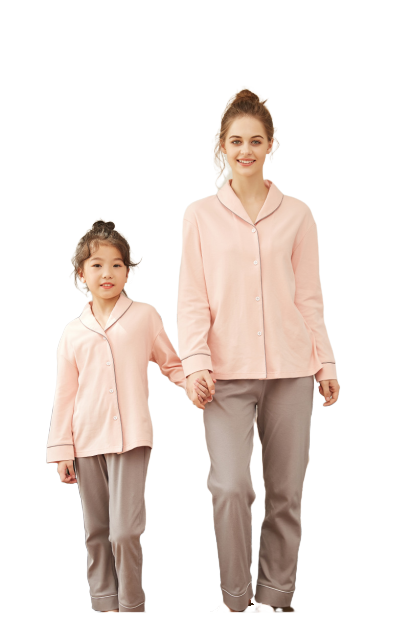 Cozy Solid Mother and Daughter Matching Pajamas 1
