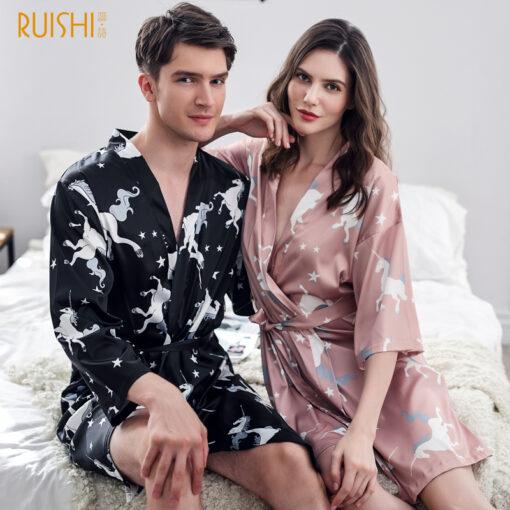 Matching  Unicorn Printed Couple Pajamas Set 1