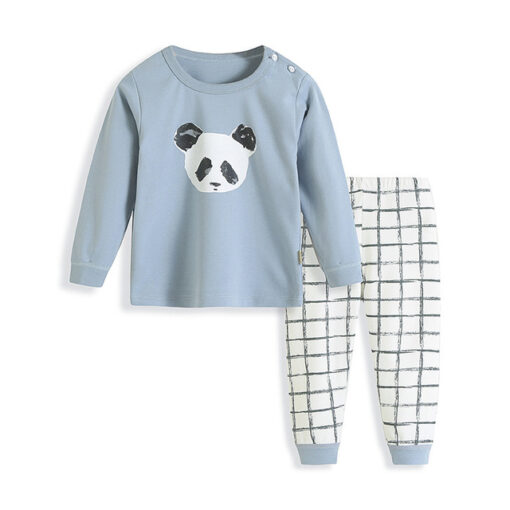Panda Cartoon Print Kids Pajamas 1