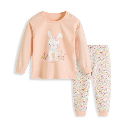 Bunny Cartoon Print Kids Pajamas 1