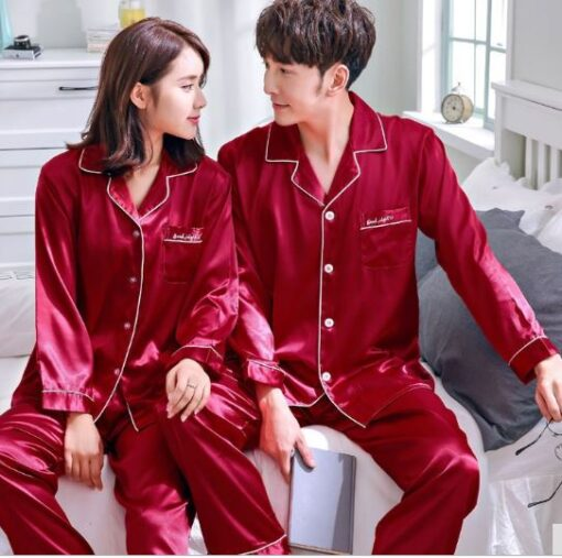 Solid Matching Pajamas For couple 3