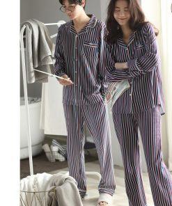 Autumn Striped Season Couple Pajamas 10