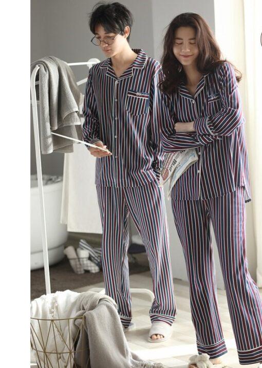 Autumn Striped Season Couple Pajamas 2